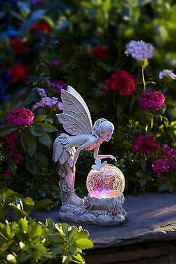 Solar Fairy Statue Figurine LED Lights Globe Lawn Yard Garde