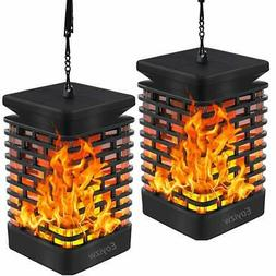 EOYIZW Solar Flame Lights Hanging Lantern Lights Outdoor Sol