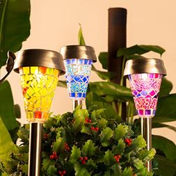 GIGALUMI Solar Garden Lights Outdoor, 3 Color Mosaic Lampsha