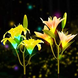 YUNLIGHTS 2pcs Solar Garden Lights Outdoor Lily Flower Solar