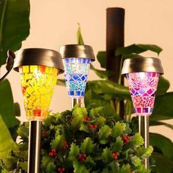 GIGALUMI Solar Garden Lights Outdoor, 3 Color Mosaic Lampsha