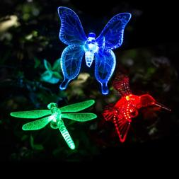GIGALUMI Solar Garden Lights Outdoor - 3 Pack Stake Multi-Co