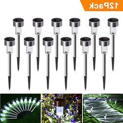 Sunnest Solar Garden Lights Outdoor 12Pack Stainless Steel S