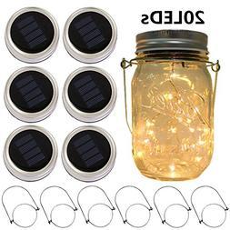 6-Pack Solar-powered Mason Jar Lights 20 LEDs ,Warm White Gl