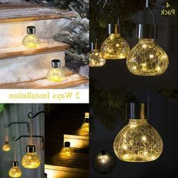GIGALUMI Solar Hanging Lights Outdoor 4 Pcs Powered LED Gard