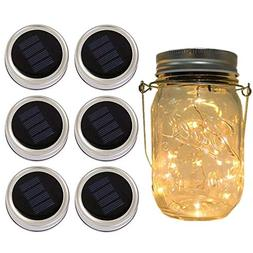 6-Pack Solar-powered Mason Jar Lights ,10 Bulbs Warm White J