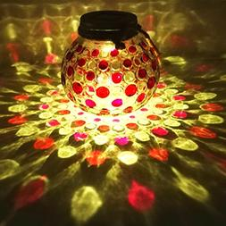 Sogrand Solar Jar Lights Outdoor Lids for Mason Jars Red Dot