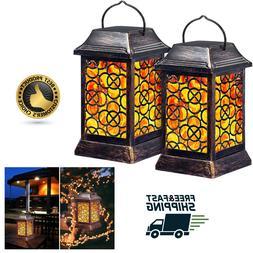 Solar Lantern Flickering Flame Lights Metal LED Hanging Outd