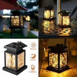 Solar Lantern Hanging Light LED Yard outdoor Patio Garden La