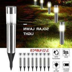 1-8Pcs Solar Pathway Lights Waterproof LED Outdoor Garden La