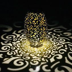 Solar LED Hanging Light Retro Hollow Metal Cloud Lantern Out