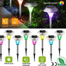 Solar LED Light Outdoor Power Lawn Lights Lamp Stainless Ste