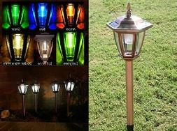 Solar LED Lights Copper Colored Garden Path Lighting Ground