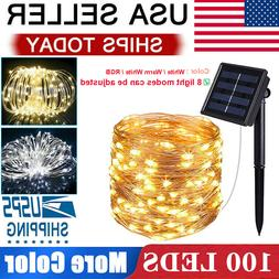 Solar LED String Lights 100 Copper Wire 33ft Waterproof Outd