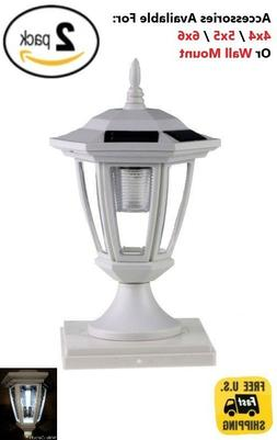 Solar Light White Post Cap White LED 4x4 /5x5 /6x6 Or Wall M