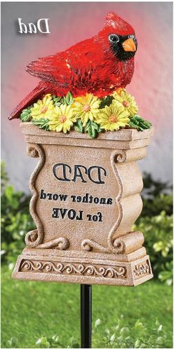 "Solar Lighted Cardinal Memorial ""Fathers Day"" Garden Stake S"