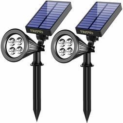 2 Pack Solar Lights 2-in-1 Waterproof 4 LED Solar Spotlight