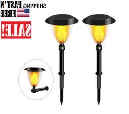 Solar Lights, 2-in-1 Waterproof Flickering Flames Torch Ligh