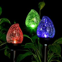 GIGALUMI Solar Lights Outdoor, Cracked Glass Flame Shaped Du