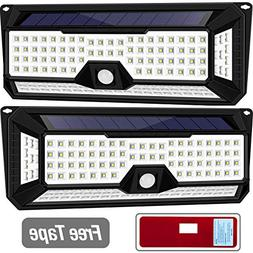 Solar Lights Outdoor, Wireless 136LED Lights of 4 Sides with
