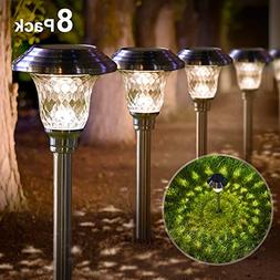 Solar Lights Bright Pathway Outdoor Garden Stake Glass Stain