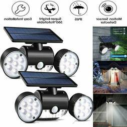 Dual Head Solar Motion Sensor Detector Home Security Light F