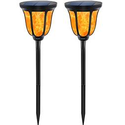TomCare Solar Torches Lights, Waterproof Flickering Flame So