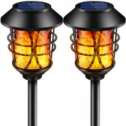 solar lights metal flickering flame solar torches