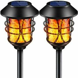 solar lights metal flickering flame torches lights
