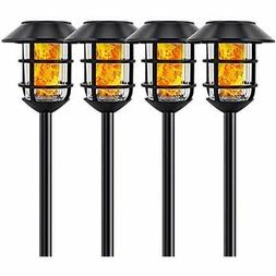 Solar Lights Metal Flickering Flame Torches Waterproof Outdo