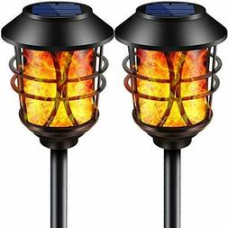 TomCare Solar Lights Metal Flickering Flame Solar Torches Li