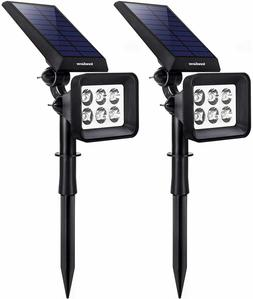 Solar Lights Outdoor 6 LED Solar Landscape Spotlights 2in1 I
