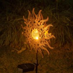 Sun Garden Solar Lights Pathway Outdoor Moon Crackle Glass G
