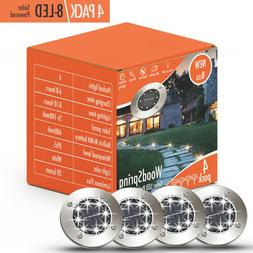 Solar Lights Outdoor Pathway Disk Lights | 4 Pack 8-LED Sola