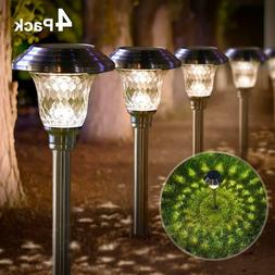 Solar Lights Pathway Outdoor Garden Path Glass Stainless Ste