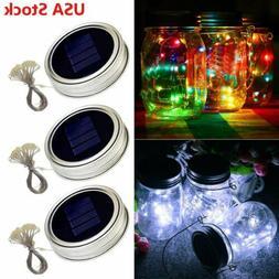 Solar Mason Jar Lids Fairy String Lights 20 LEDs Indoor Outd