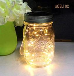 Aubasic Solar Mason Jar Lights, 20 Leds Waterproof Fairy Fir