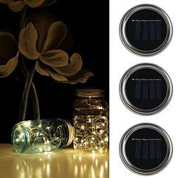 YUHAN 3 Pack Premium Solar Mason Jar String Lights,2M 20 Top