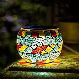 Solar Mosaic Table Lights Kinna 2 Pack Solar Glass Ball Tabl
