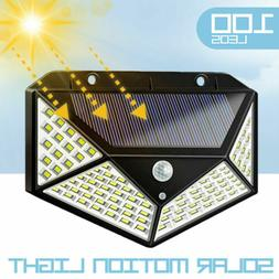Solar Motion Sensor Lights 100 LEDs Outdoor 3 Modes with 270