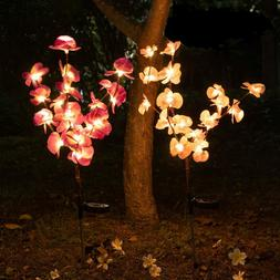 Solar Garden Lights Orchid Flowers Stake Lamp For Yard Outdo
