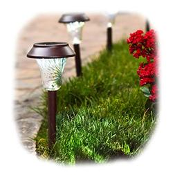 Enchanted Spaces Solar Path Light, Set of 6, Bronze, with Gl