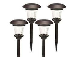 Solar Path Lights Set of 4 Bronze w/ Glass Lens Rechargeable