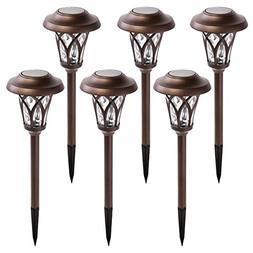 GIGALUMI Solar Pathway Lights Outdoor, 6 Pcs Super Bright Hi