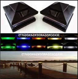 Solar Post Cap Deck Fence Color LED Lights 5x5 or 6x6 Black