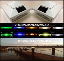 Solar Post Cap Deck Fence Color LED Lights 5x5 or 6x6 White