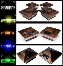 Solar Post Cap Deck Fence LED Lights Copper Color 4x4 PVC Vi