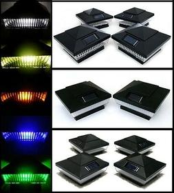 Solar Post Cap Deck Fence Lights Black Colored 4x4 PVC Vinyl