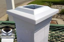 Solar Post Cap Light Mount 5x5 White Low Profile 4 SMD LEDs