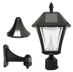 Outdoor Solar Post Wall Light Black Fixture Warm-White LED A